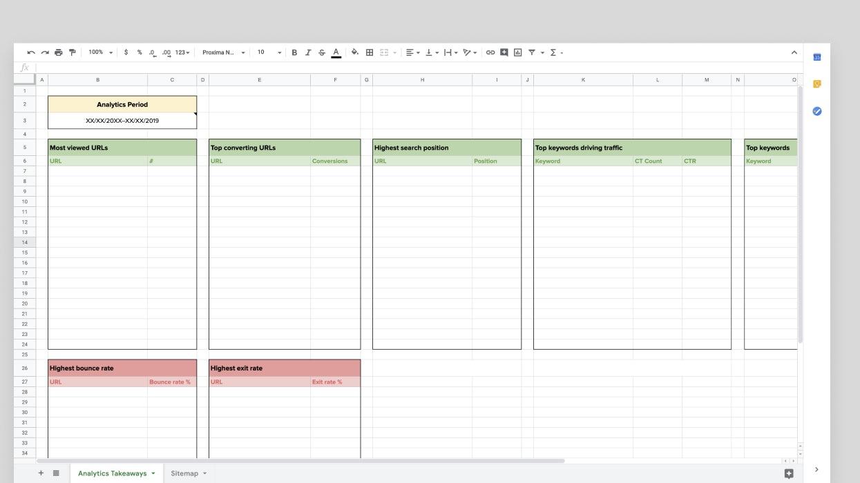 Club analytics spreadsheet example